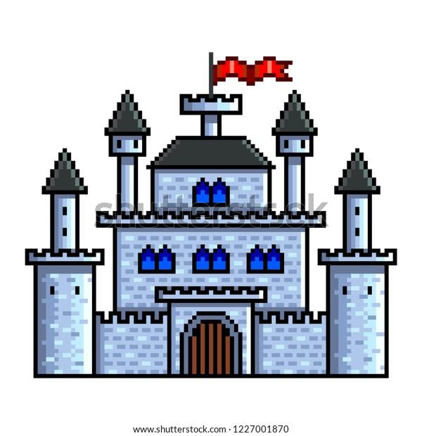 Image Vectorielle De Stock De Pixel Art Vieux Château