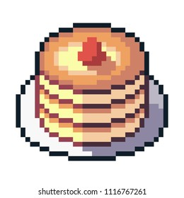 Pixel art pancakes isolated on white background.