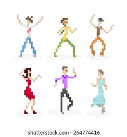 Pixel Art Party Dancing People Set