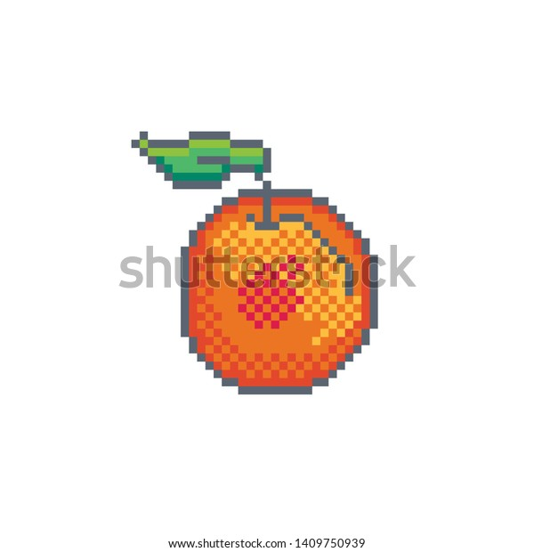 Pixel Art Peach Icon Vector Design Stock Vector Royalty