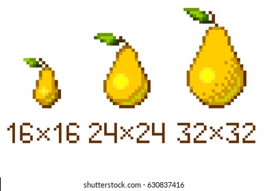 Pixel art pear icons in different size isolated on white background.