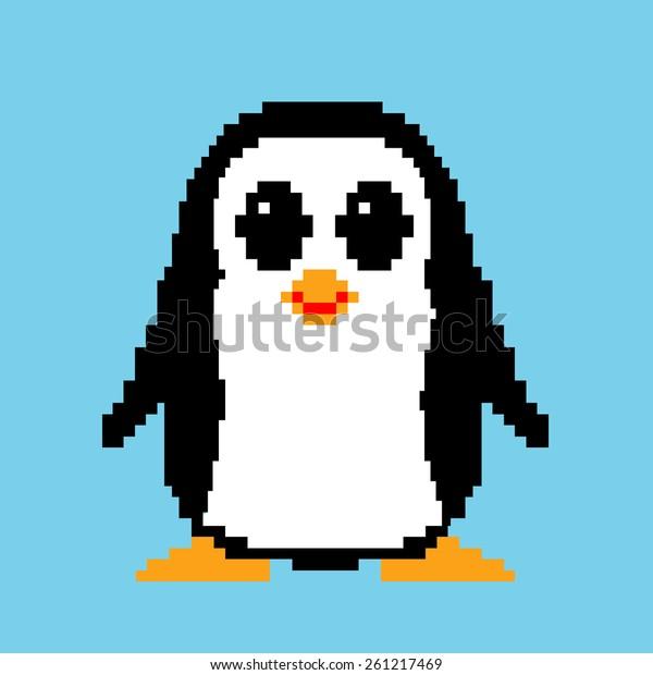 Pixel Art Penguin Vector Illustration Stock Vector Royalty