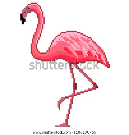 f57ea16bb5bed2 Pixel art pink flamingo detailed illustration stock vector royalty flamingo  vector lion ram animal jpg 450x470