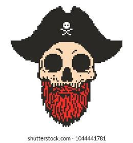 Pixel art pirate captain skull with beard