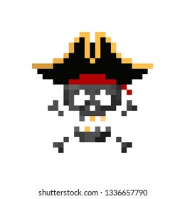 Pixel art pirate human skull with tricorn  - isolated vector illustration