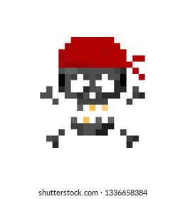 Pixel art pirate human skull with  red bandage - isolated vector illustration