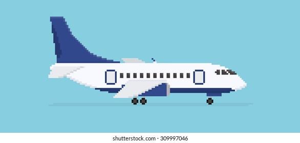 Pixel art plane isolated on blue background