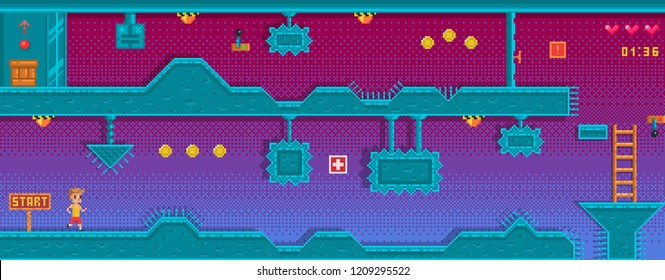 Pixel art platformer with different obstruction. Location with underground station. Background for game application.