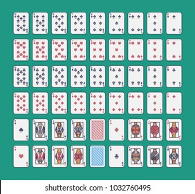 Pixel art playing cards standart deck vector set.