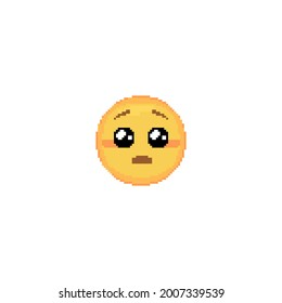 Pixel art Pleading Emoji face icon. Vector cute pixel begging emoticon with Glossy Eyes. Shy Emoji in retro pixel 8 bit style. Puppy dog simp emoji yellow face isolated icon.