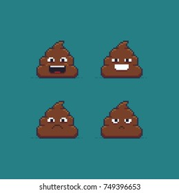 Pixel art poop characters showing different emotions