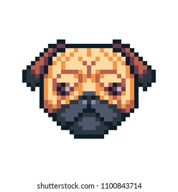 Pixel art pug dog vector icon.