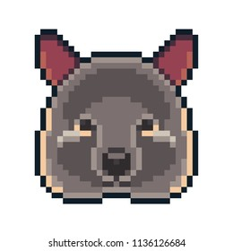 Pixel art quokka icon isolated on white background.