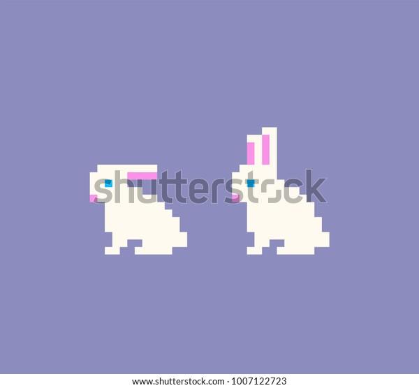Image Vectorielle De Stock De Icônes De Lapin Pixel Art Le