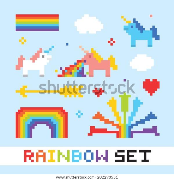 Image Vectorielle De Stock De Pixel Art Arc En Ciel Objets