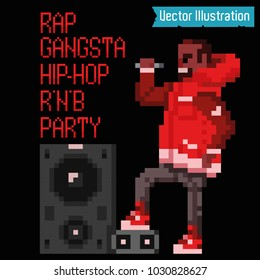 Pixel art - rapper and swag gangster read rap. Pixelart singer. Poster, rap album, cover, banner or poster element. Rap, rnb, hiphop club party poster. Isolated vector illustration on black background