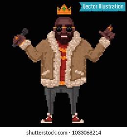 Pixel art - rapper and swag gangster read rap. Pixelart singer. Poster, rap album, cover, banner or poster element. Rap, rnb, hiphop club party poster. Isolated vector illustration on black background