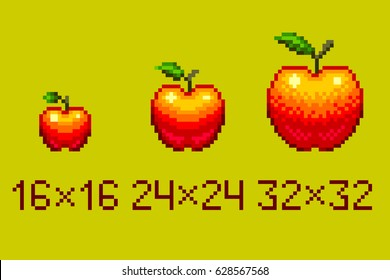 Pixel art red apple isolated on light green background.