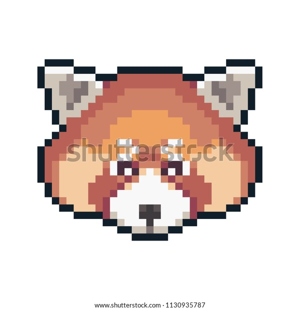 Pixel Art Red Panda Isolated On Royalty Free Stock Image