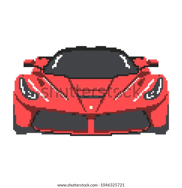 Pixel Art Red Sports Car Isolated Stock Vector Royalty Free