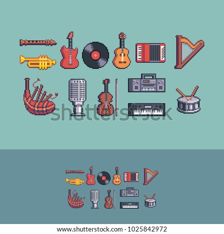 Pixel art retro style music instruments vector set.
