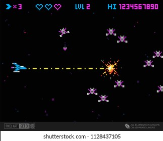 Pixel art retro video game Ufo space invade and template. Pixel explosion and spaceship. Retro 8 bit game