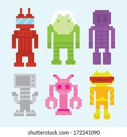 Pixel art robots isolated vector set