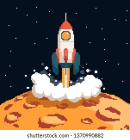 Pixel art rocket taking off from the surface of the moon