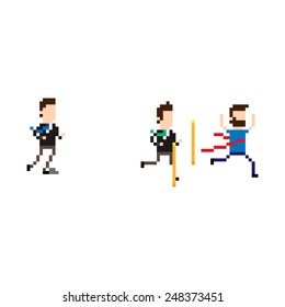 Pixel art running characters on finish line