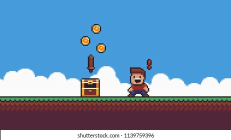 Pixel art scene. Grass, sky, clouds, happy surprised male character with red exclamation mark, open chest with coins and wooden sword