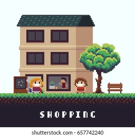 Pixel art scene with happy girl coming out from boutique with shopping bags