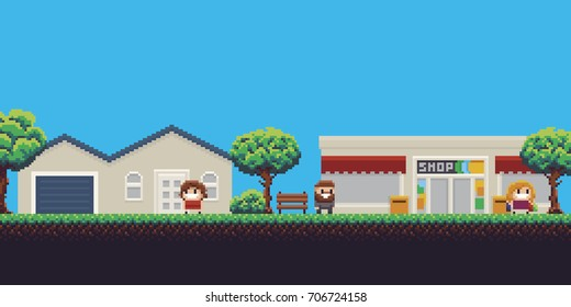 Pixel art scene with house, shop, trees and people