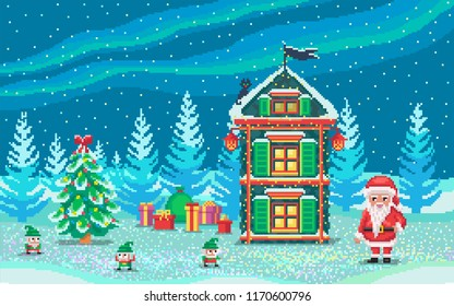Pixel art scene with santa claus and gnomes who ready gifts. Cute christmas illustration.