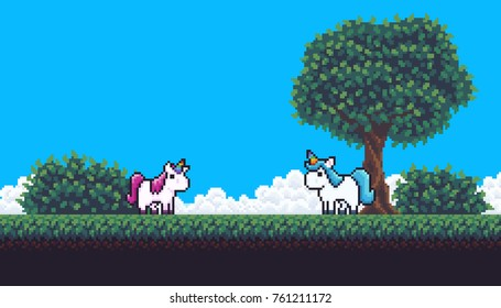Pixel art scene with treem clouds, bushes, grass and unicorns
