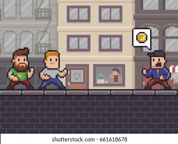 Pixel art scene with two characters ready to fight against bully wanting their money, urban background