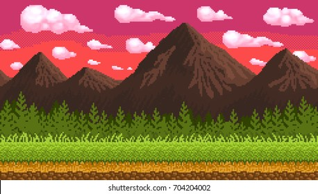 Pixel art seamless background. Location with mountains, grass and clouds. Landscape for game or application.