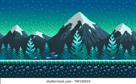 Pixel art seamless background. Location with snowy mountains at night. Landscape for game or application.