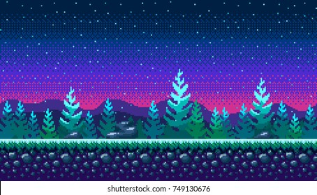 Pixel art seamless background. Location with snowy forest at night. Landscape for game or application.