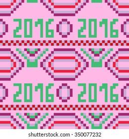 Pixel art seamless pattern 2016. Geometric design. Vector Illustration.