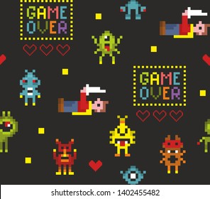 Pixel art seamless pattern with retro video game characters. Vector endless illustration with space monsters and super hero.