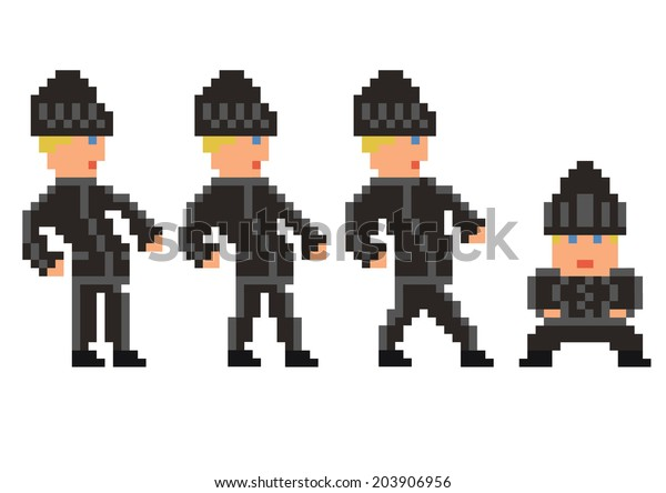 pixel art set of bandit in black clothes walking sprite, four frames, for game design development- isolated vector illustration