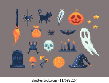 Pixel art set of different items for design on Halloween. May be used for game user interface, banners or another project.