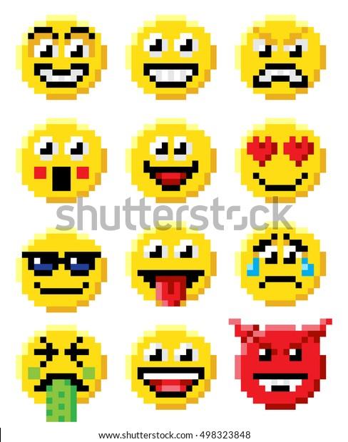 Image Vectorielle De Stock De Pixel Art Ensemble Démoji Ou