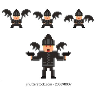 pixel art set of evil flying person in black clothes and hat, with bat wings and guns - isolated vector illustration, game design sprite