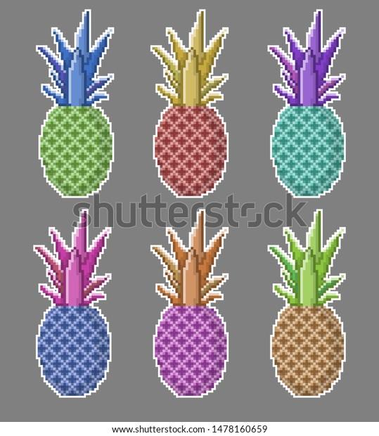 Pixel Art Set Pineapple Stickers Ananas Stock Image