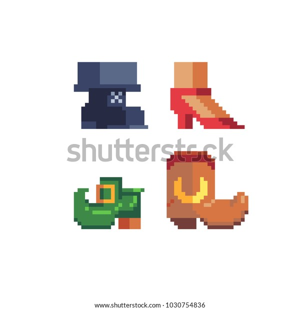 Pixel Art Shoes Icon Set Womens Stock Vector (Royalty Free