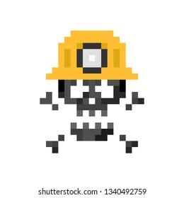 Pixel art sign miner skull with helmet - isolated vector illustration