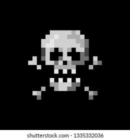 Pixel art sign skull with crossbones - isolated vector illustration