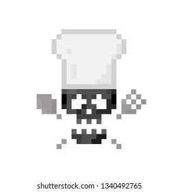 Pixel art sign skull with crossbones and chef hat - isolated vector illustration