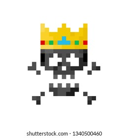 Pixel art sign skull with king crown  - isolated vector illustration